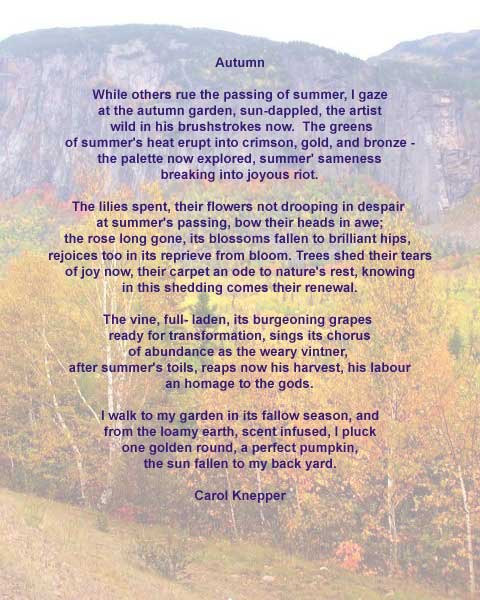 Autumn, a nature poem by Carol Knepper, background image by Richard Vallance.
