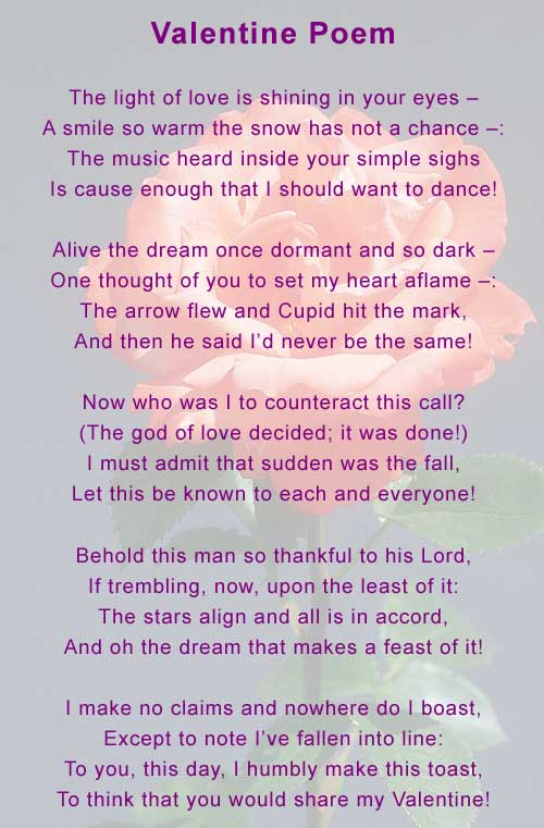 Valentine Poem - The inspiration for this rhyming love poem came ...
