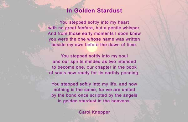 In Golden Stardust on Love Poems For Him That Rhyme